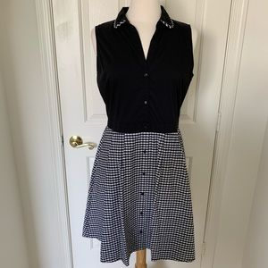 Elle Black & White Gingham Shirt Dress